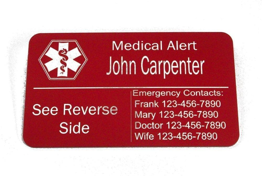 Diabetic Wallet Medical Alert Card Custom Eengraved Id Information Cards | Ebay