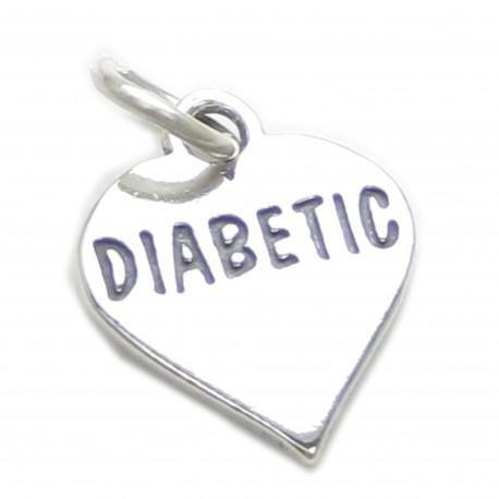 Diabetic Heart Sterling Silver Charm .925 X 1 Medical Diabetes Charms Cf5423