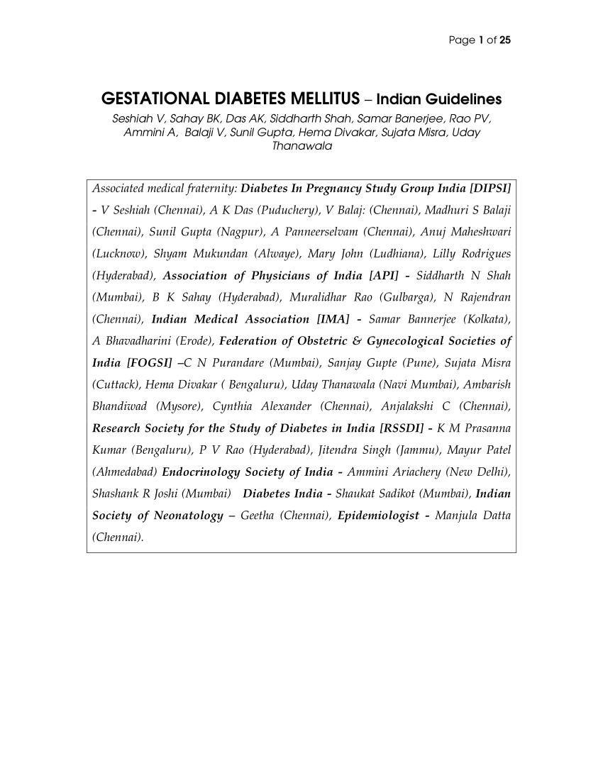 Gestational Diabetes Mellitus - Indian Guidelines