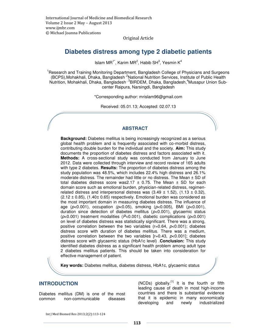 (pdf) Diabetes Distress Among Type 2 Diabetic Patients