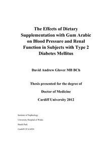 The Effects Of Dietary Supplementation With Gum Arabic On Blood Pressure And Renal Function In Subjects With Type 2 Diabetes Mellitus