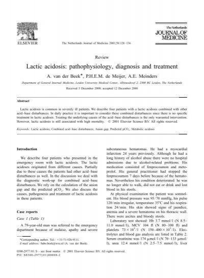 Lactic Acidosis: Pathophysiology, Diagnosis And Treatment - Sassit