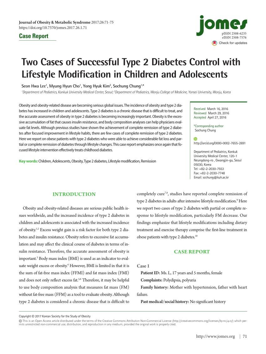(pdf) Two Cases Of Successful Type 2 Diabetes Control With Lifestyle Modification In Children And Adolescents
