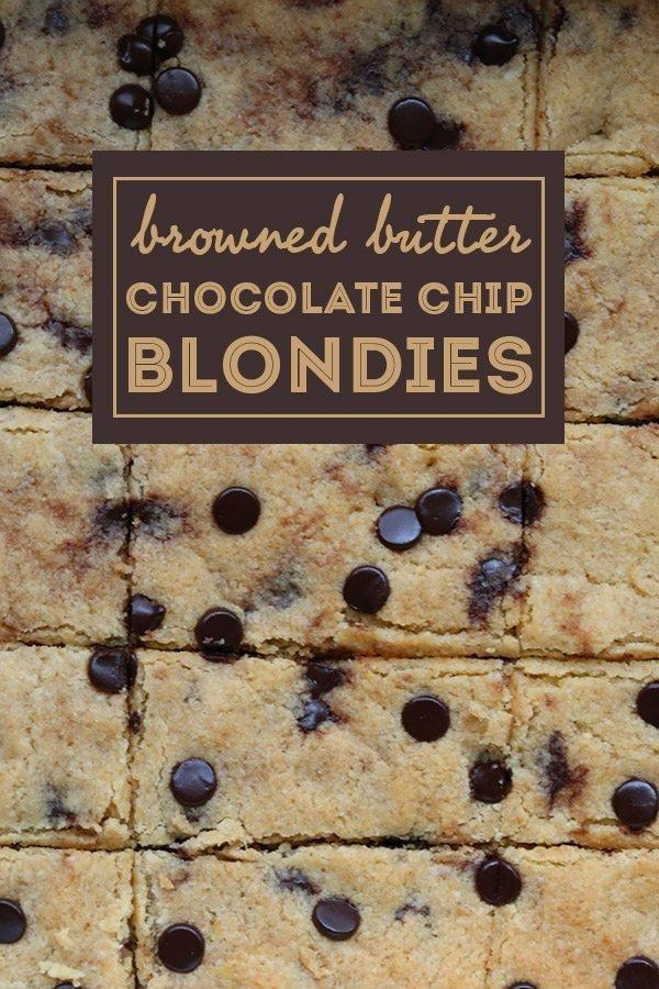 Low Carb Browned Butter Chocolate Chip Blondies | All Day I Dream About Food
