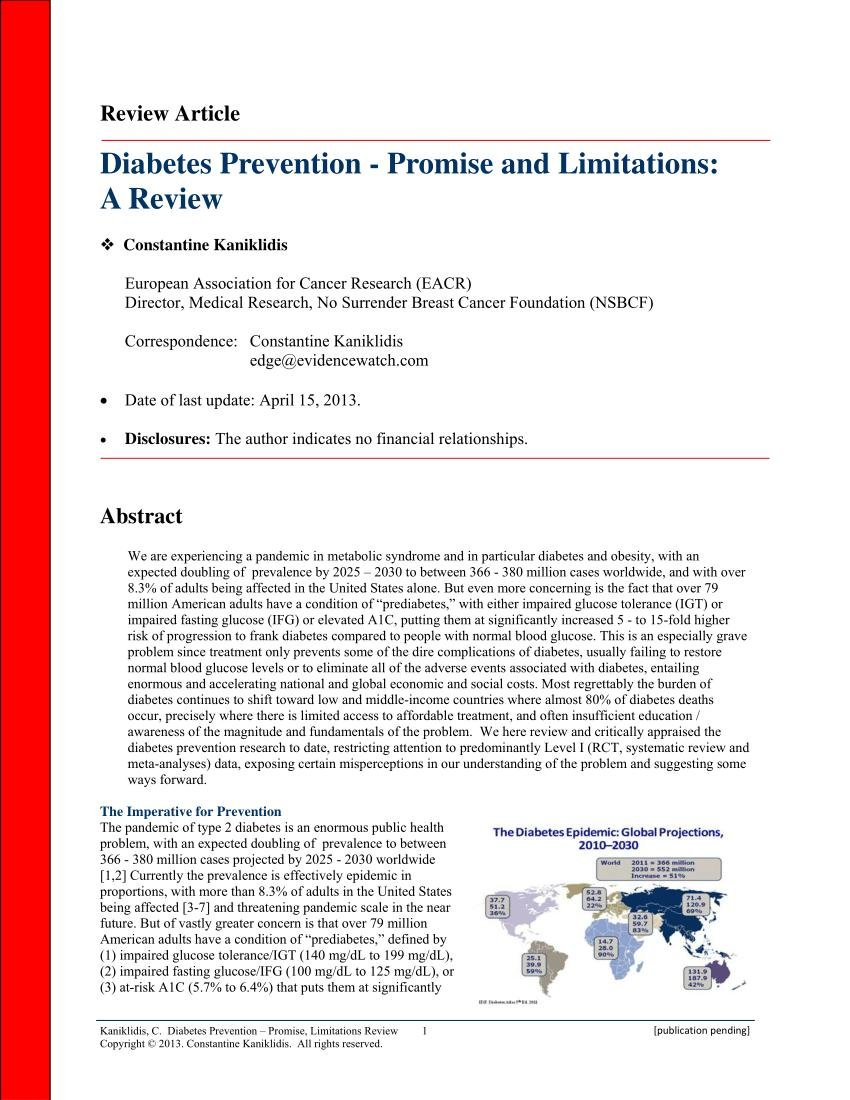 (pdf) Diabetes Prevention - Promise And Limitations: A Review