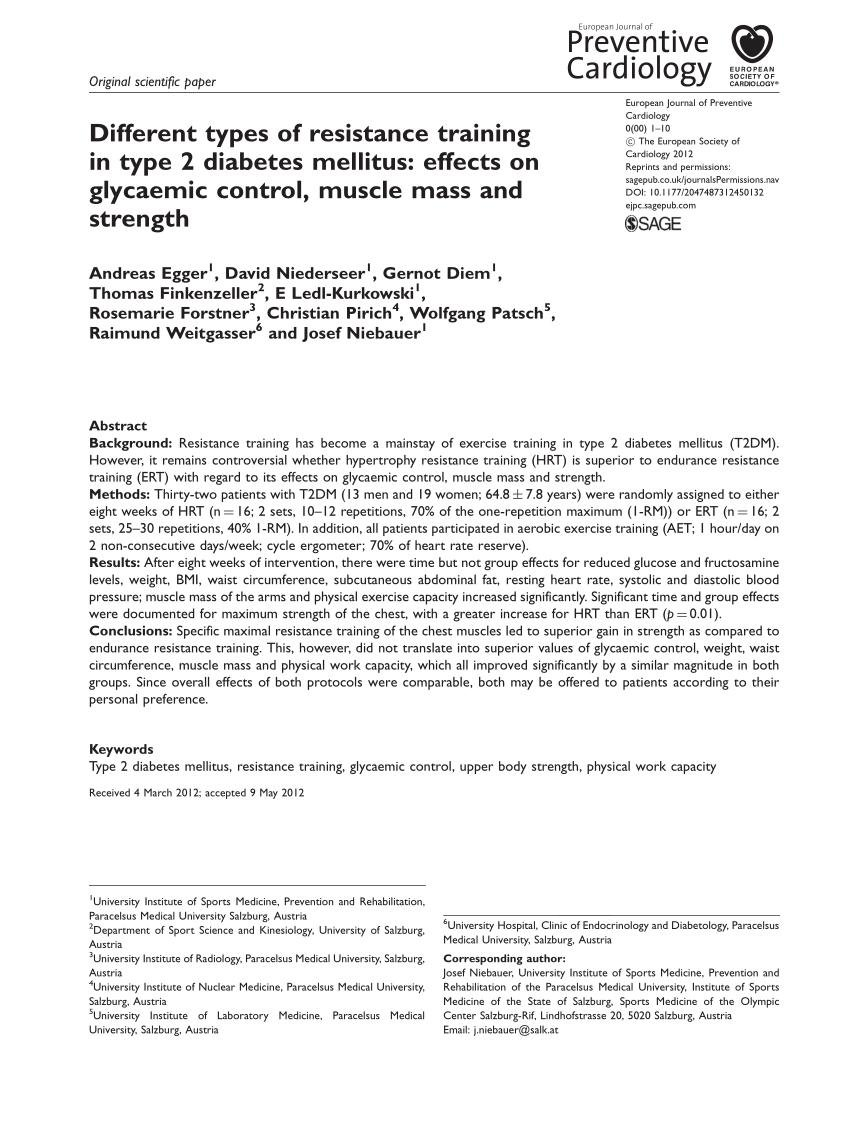 (pdf) Different Types Of Resistance Training In Type 2 Diabetes Mellitus: Effects On Glycaemic Control, Muscle Mass And Strength