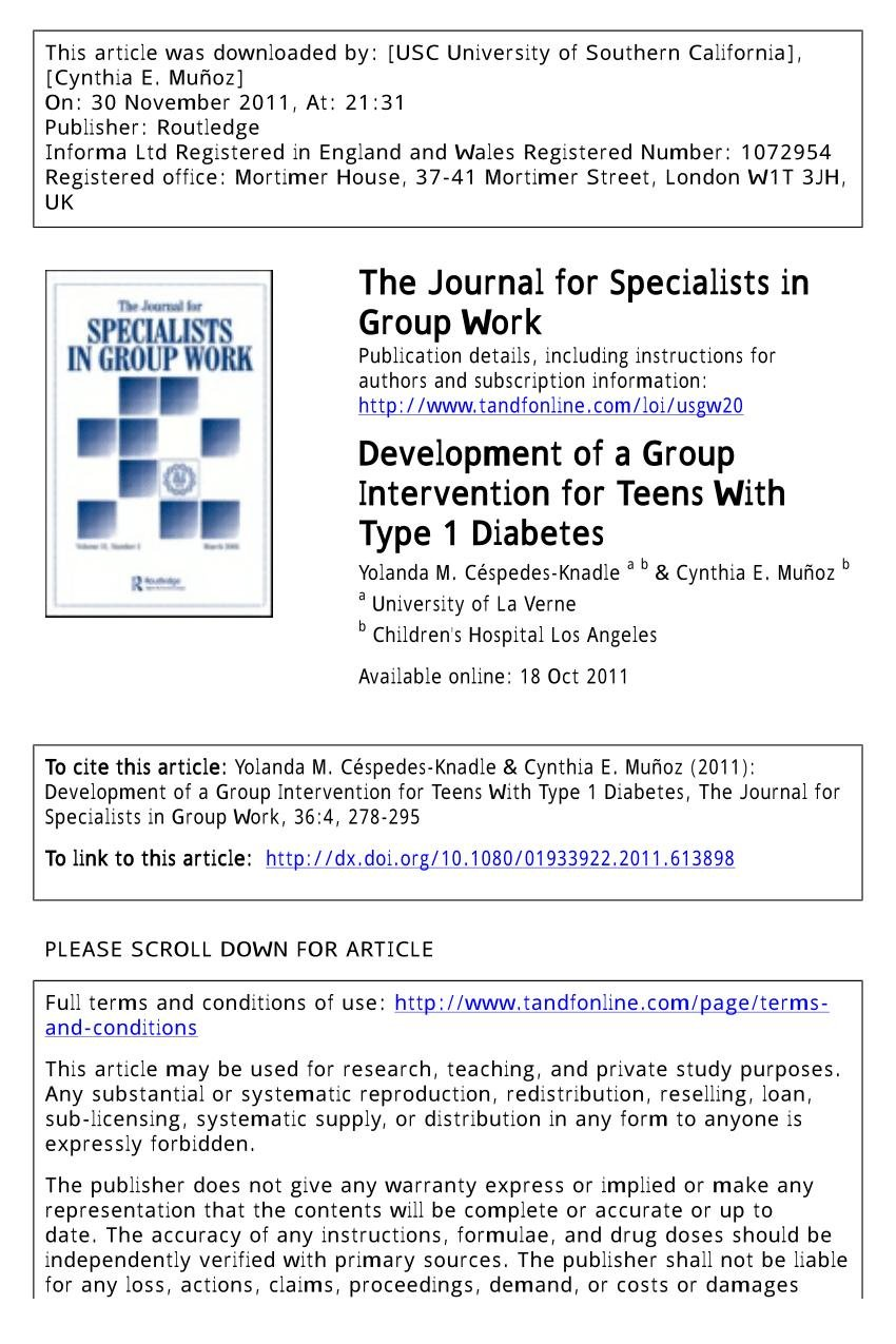 (pdf) Development Of A Group Intervention For Teens With Type 1 Diabetes