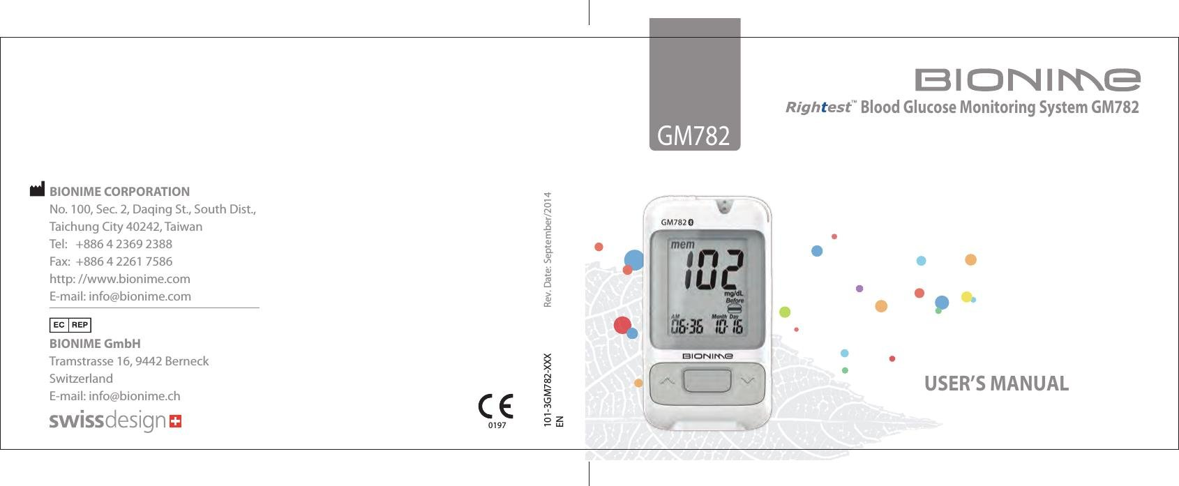 Gm782 Blood Glucose Meter User Manual Bionime Corporation