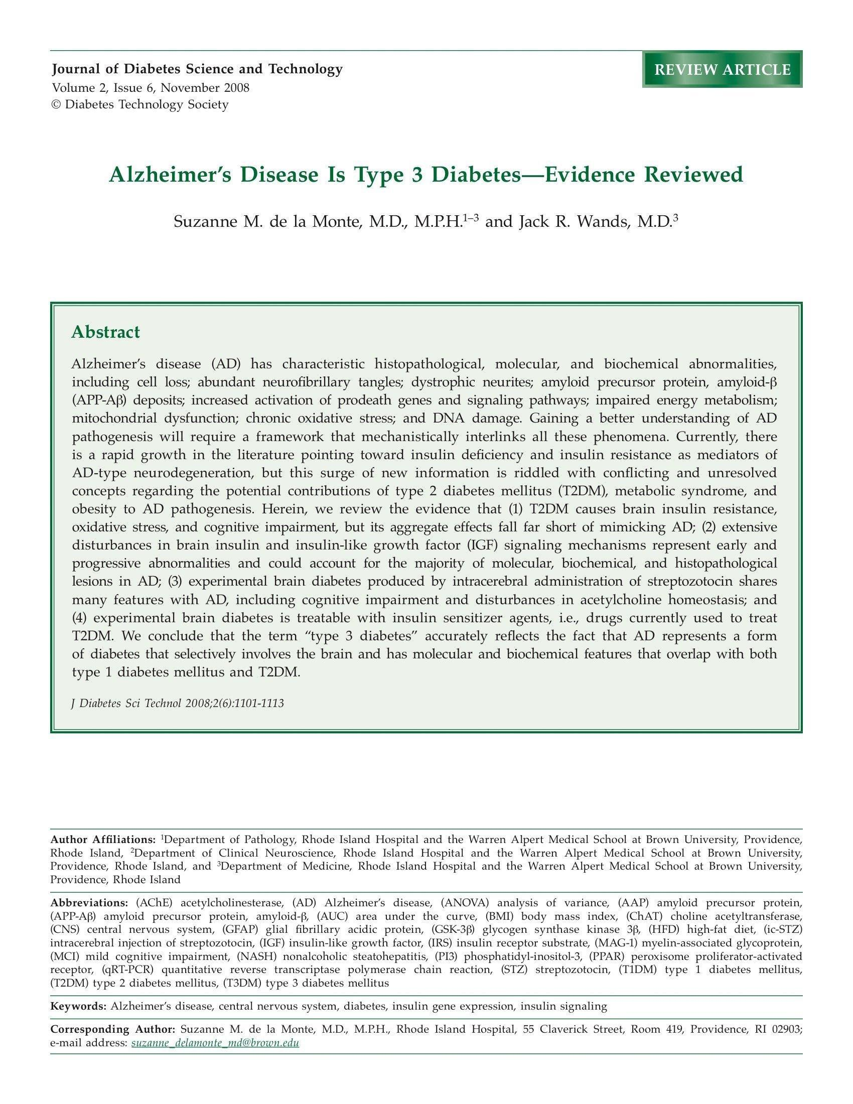 Just Read: Alzheimers Disease Is Type 3 DiabetesEvidence Reviewed