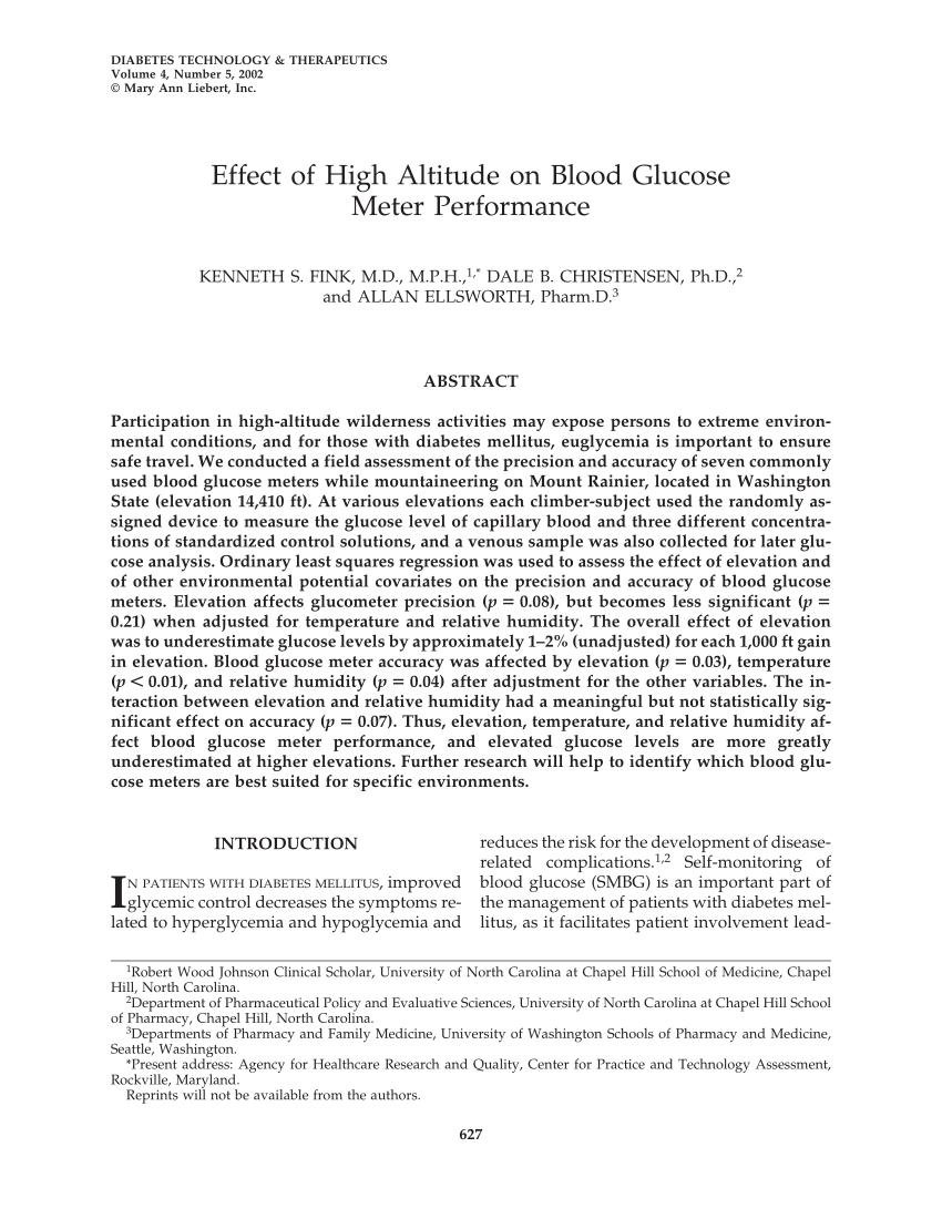 Effect Of High Altitude On Blood Glucose Meter Performance