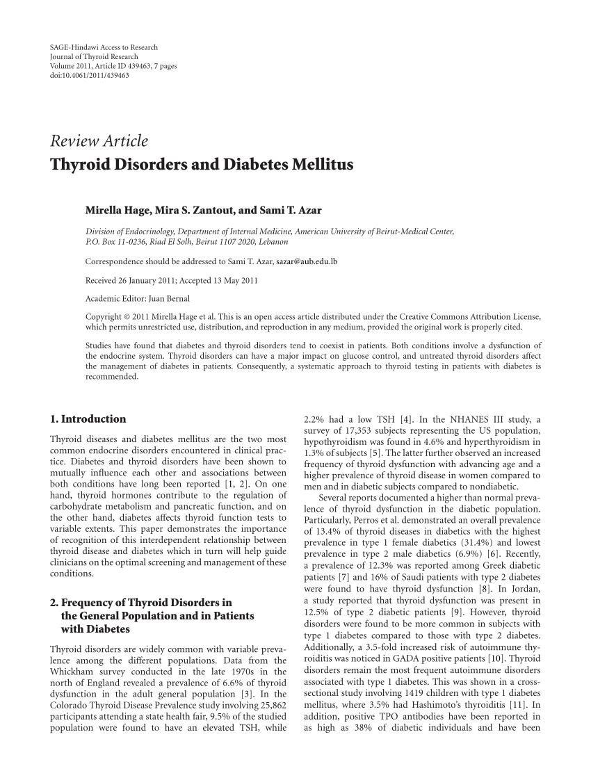 Thyroid Disorders And Diabetes Mellitus