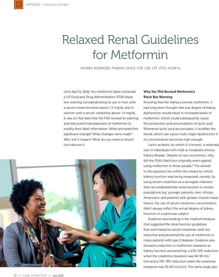 Relaxed Renal Guidelines For Metformin