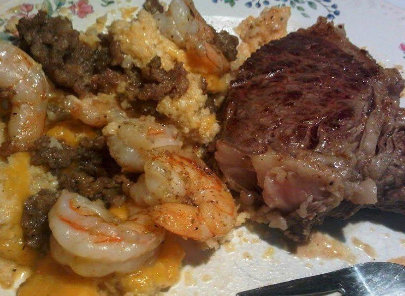 Shrimp, Steak And Faux Cheese Grits