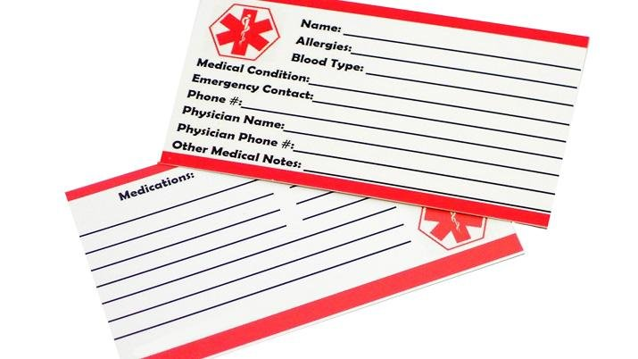 Free Printable Medical Id Wallet Cards