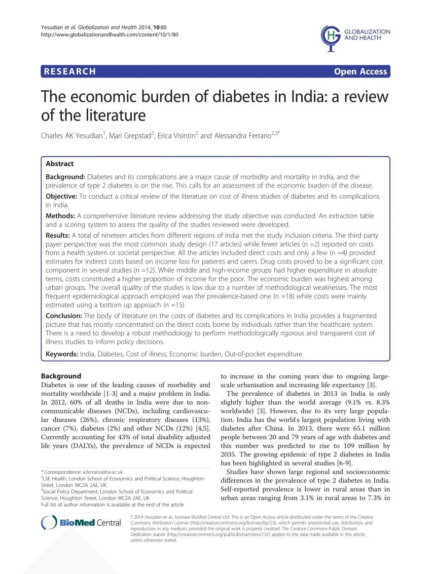 (pdf) The Economic Burden Of Diabetes In India: A Review Of The Literature