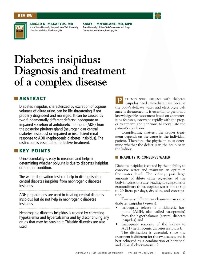Diabetes Insipidus: Diagnosis And Treatment Of A Complex Disease