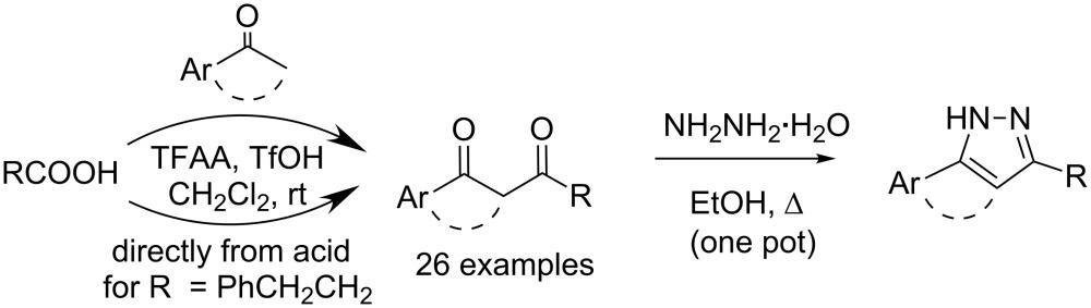 (cf3co)2o/cf3so3h-mediated Synthesis Of 1,3-diketones From Carboxylic Acids And Aromatic Ketones