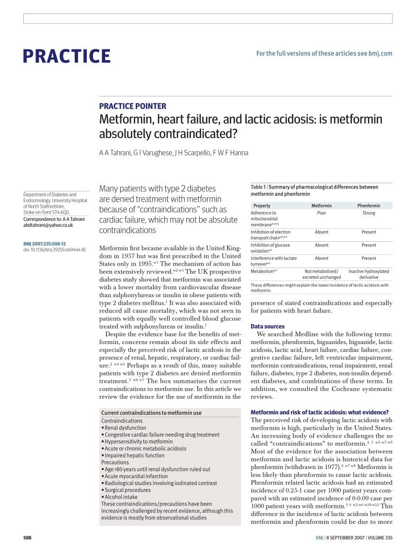 Is Metformin Contraindicated In Congestive Heart Failure?