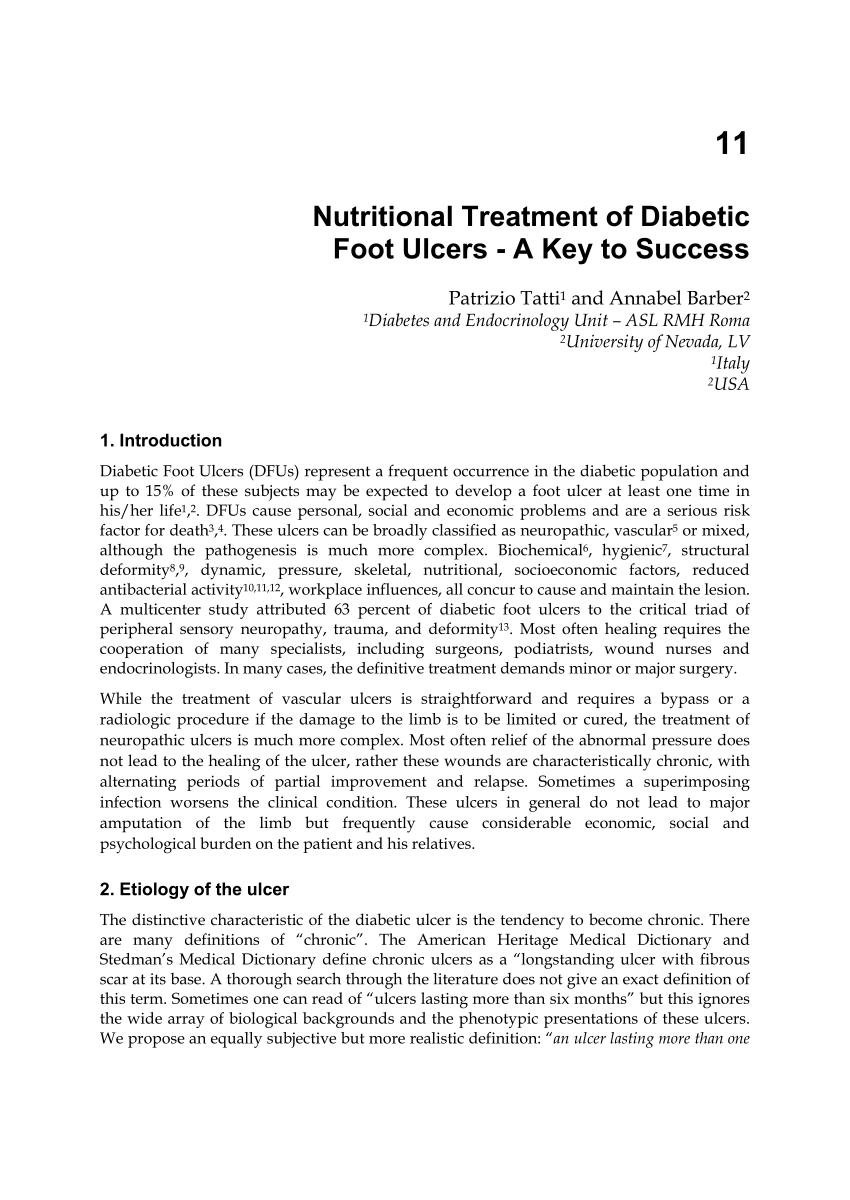 (pdf) Nutritional Treatment Of Diabetic Foot Ulcers - A Key To Success