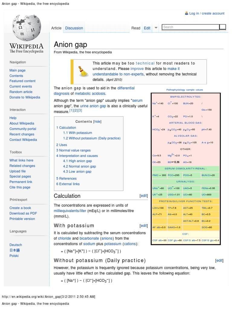 Anion Gap - Wikipedia, The Free Encyclopedia