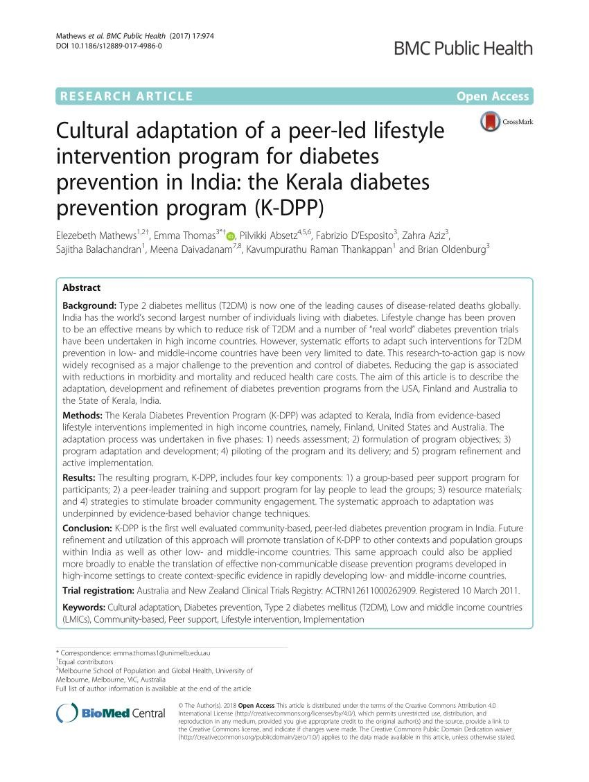 (pdf) Cultural Adaptation Of A Peer-led Lifestyle Intervention Program For Diabetes Prevention In India: The Kerala Diabetes Prevention Program (k-dpp)
