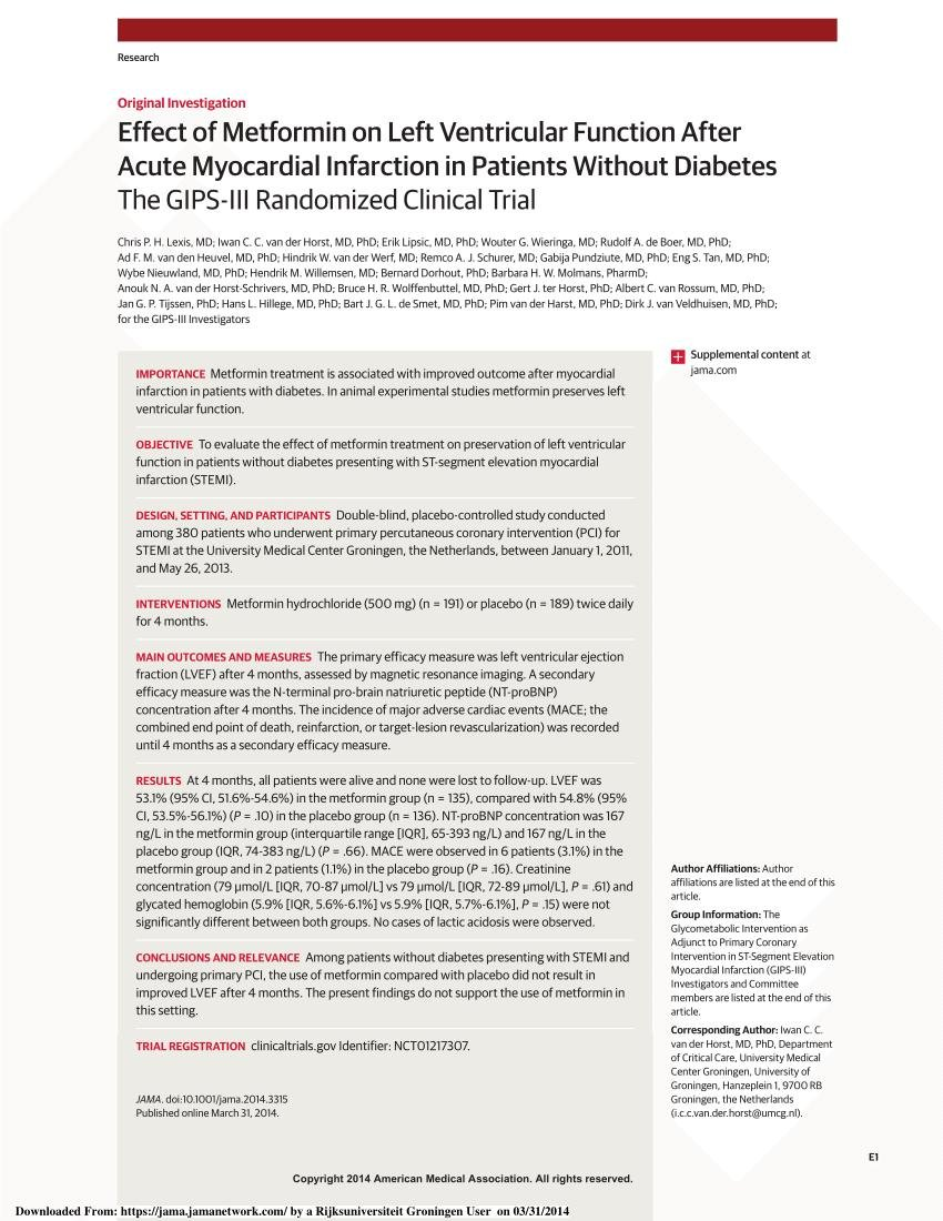 Metformin Myocardial Infarction