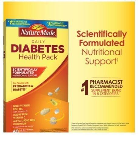Nature Made Diabetic Health Pack 60 Packets (6 Supplements/packet) - New | Ebay