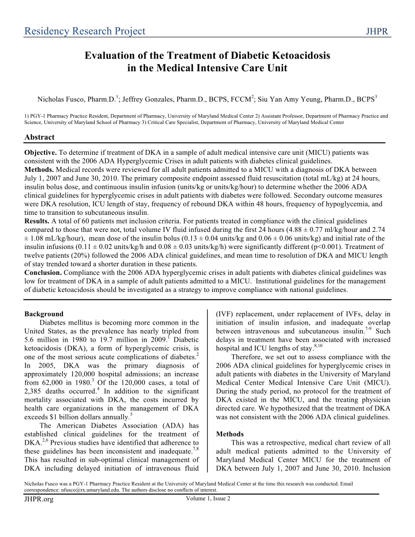 Evaluation Of The Treatment Of Diabetic Ketoacidosis In The Medical Intensive Care Unit