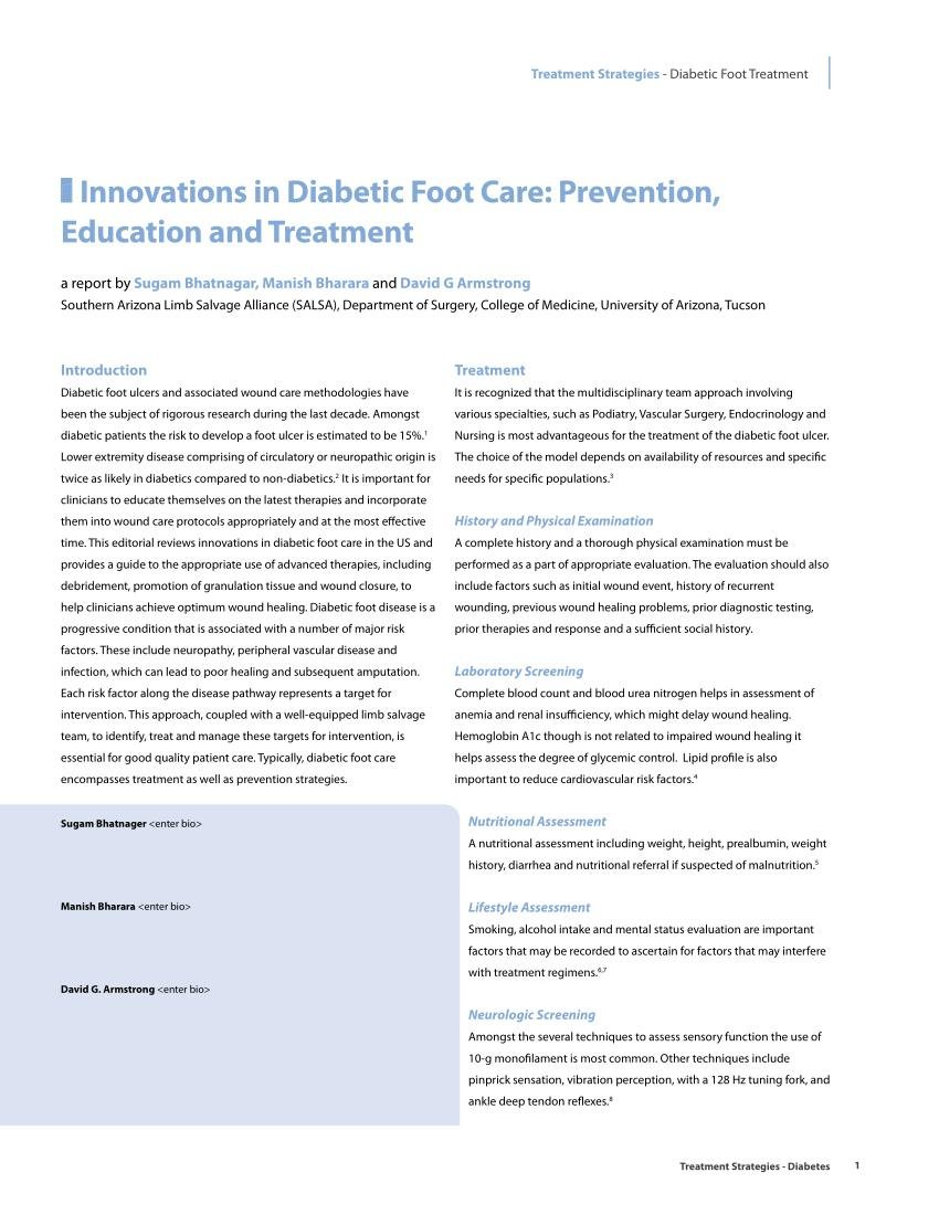 (pdf) Diabetic Foot Ulcers: Prevention, Diagnosis And Classification
