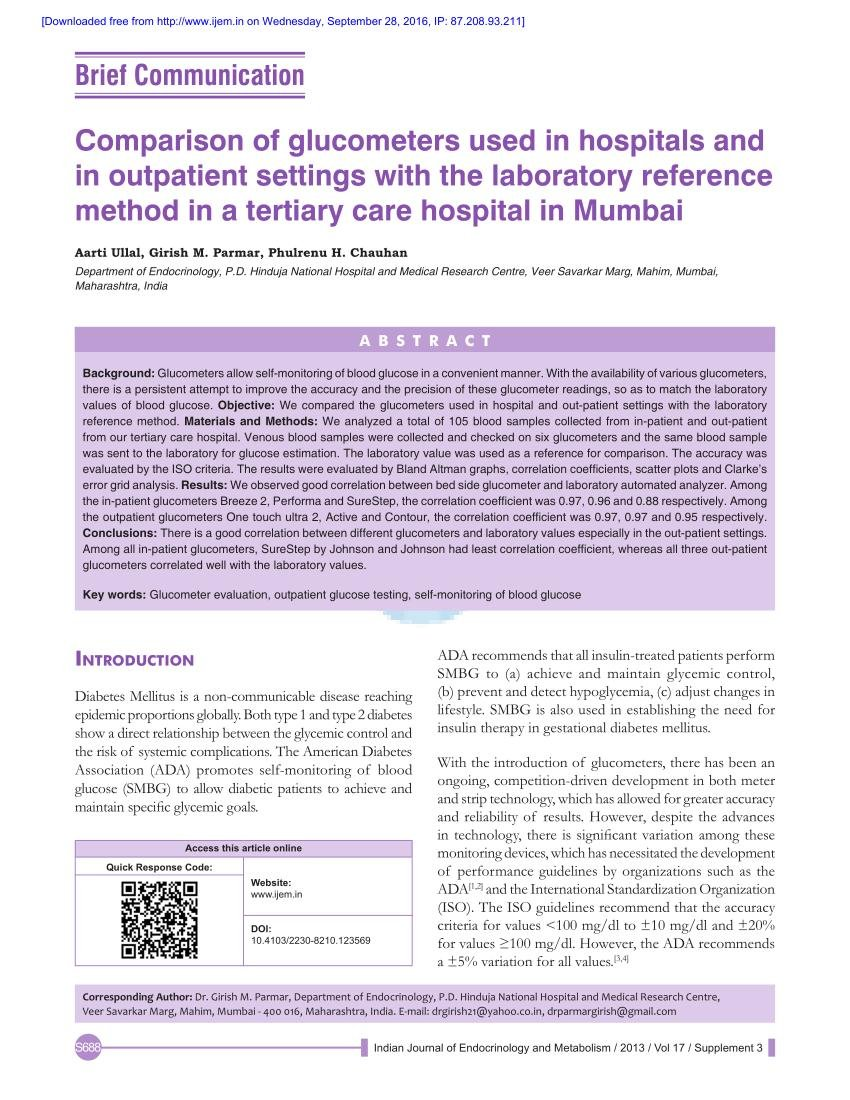 (pdf) Comparison Of Glucometers Used In Hospitals And In Outpatient Settings With The Laboratory Reference Method In A Tertiary Care Hospital In Mumbai