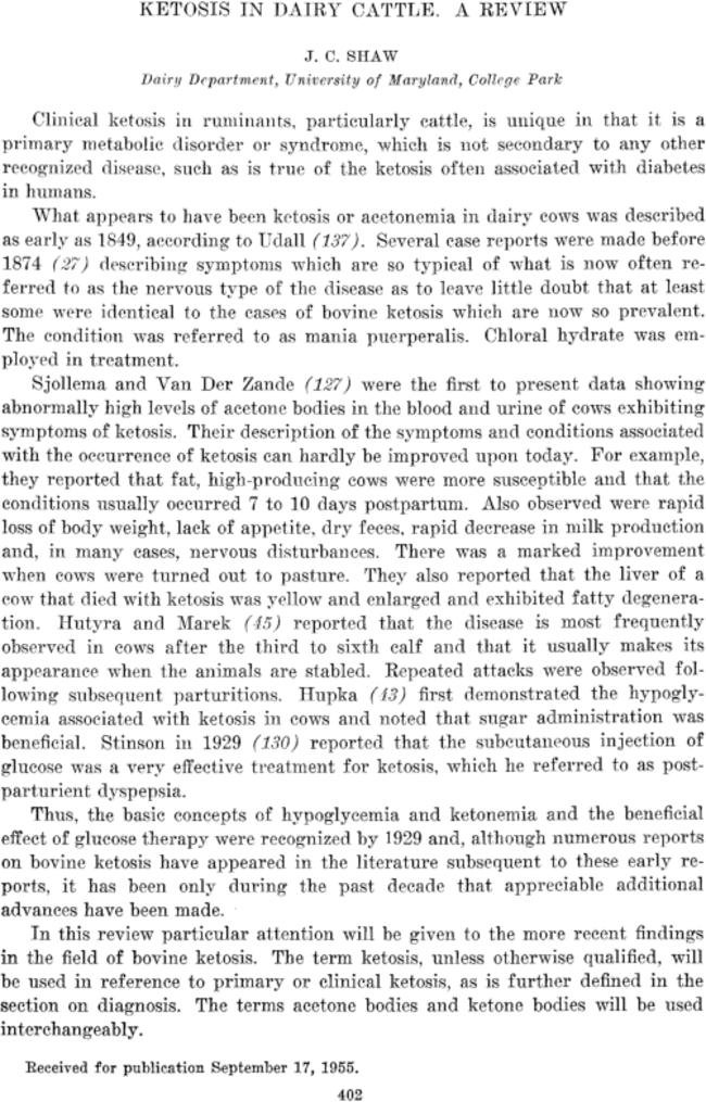 Ketosis In Dairy Cattle. A Review