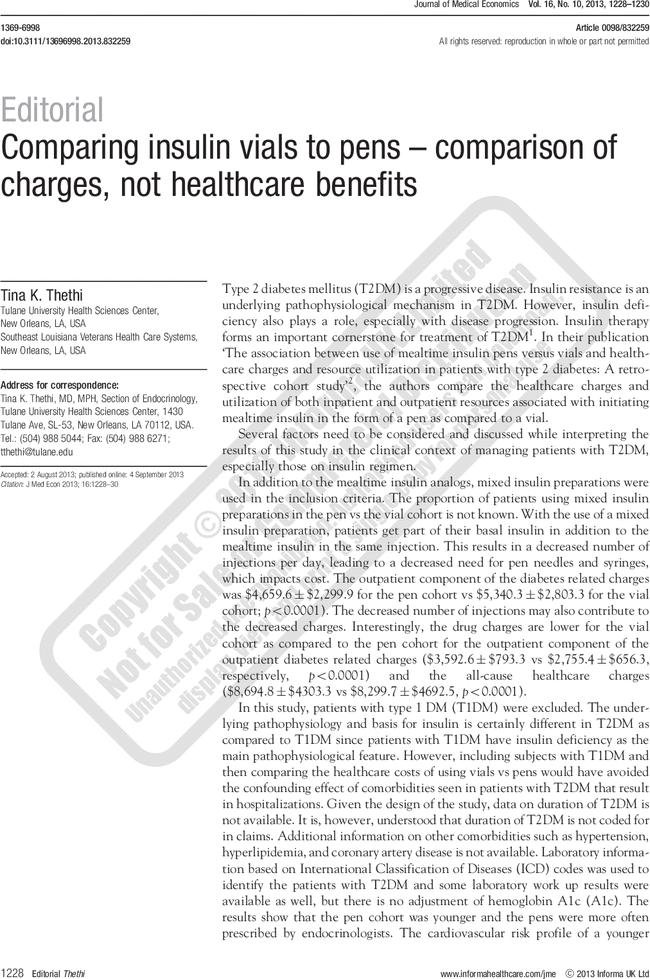 Comparing Insulin Vials To Pens – Comparison Of Charges, Not Healthcare Benefits