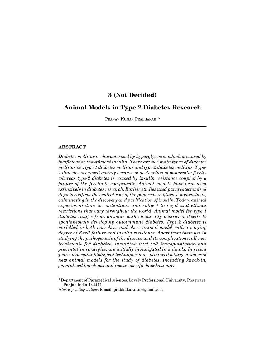 (pdf) Animal Models In Type 2 Diabetes Research