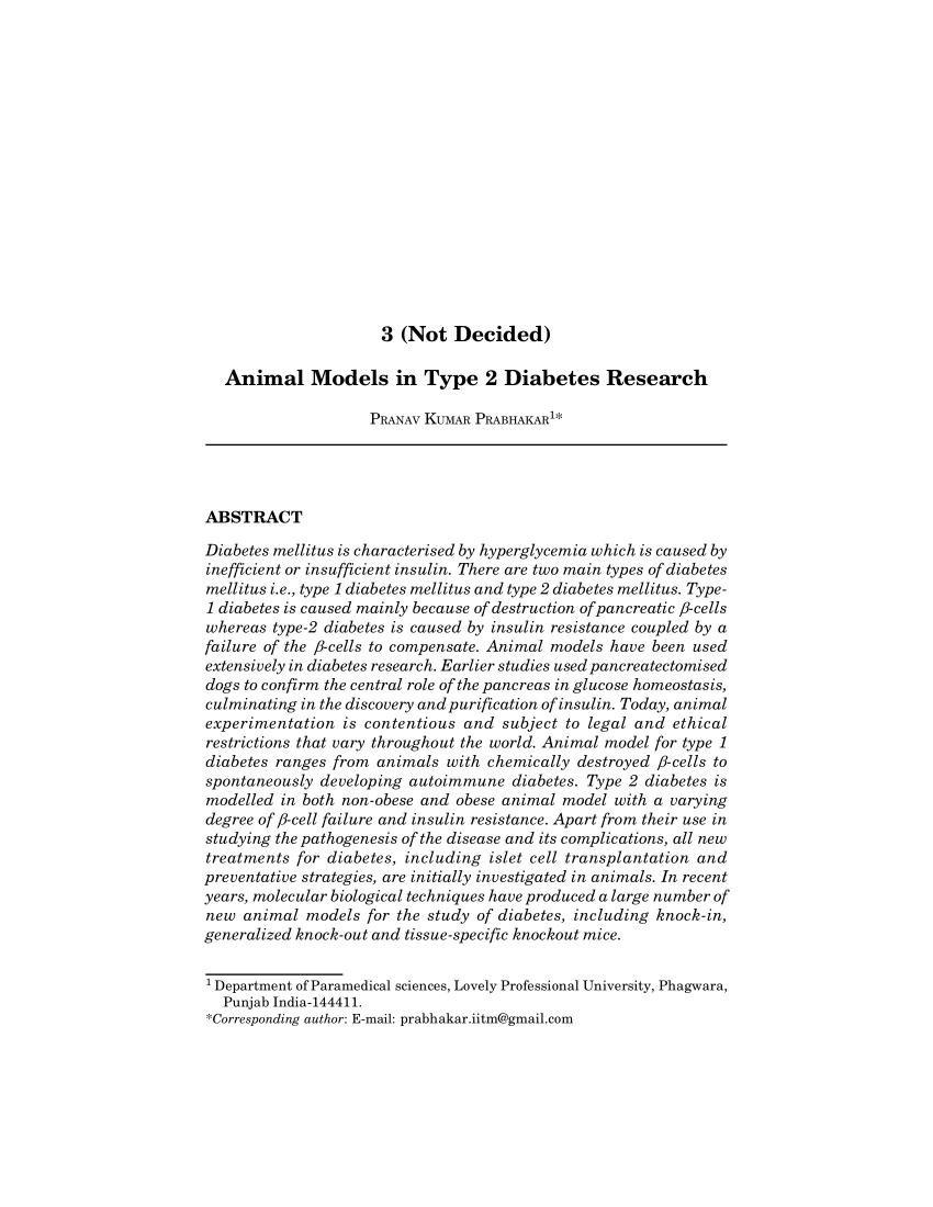 Type 2 Diabetes Animal Models