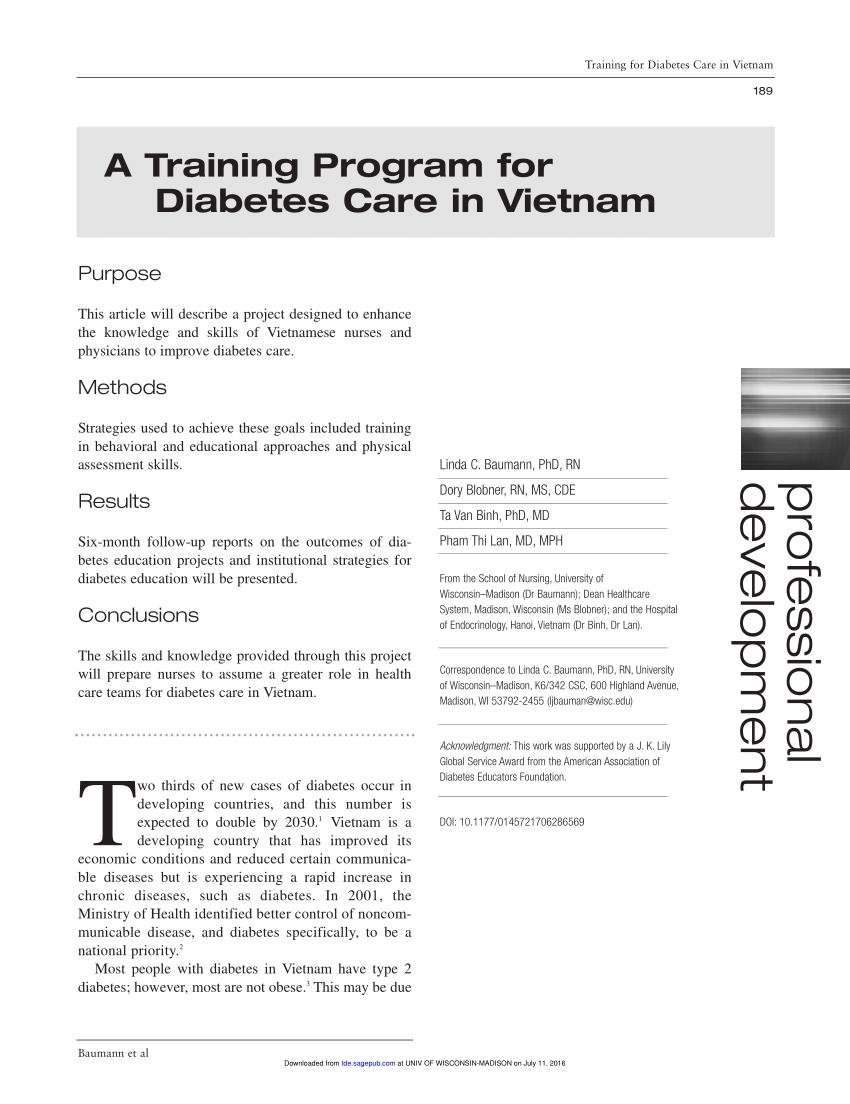A Training Program For Diabetes Care In Vietnam