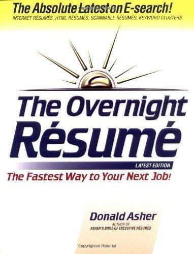 Pdf The Overnight Resume Read Popular - By Donald Asher - Menggokngiri12413
