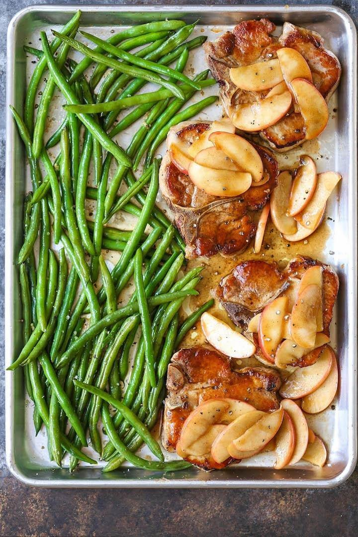 Baked Apple Pork Chops And Green Beans