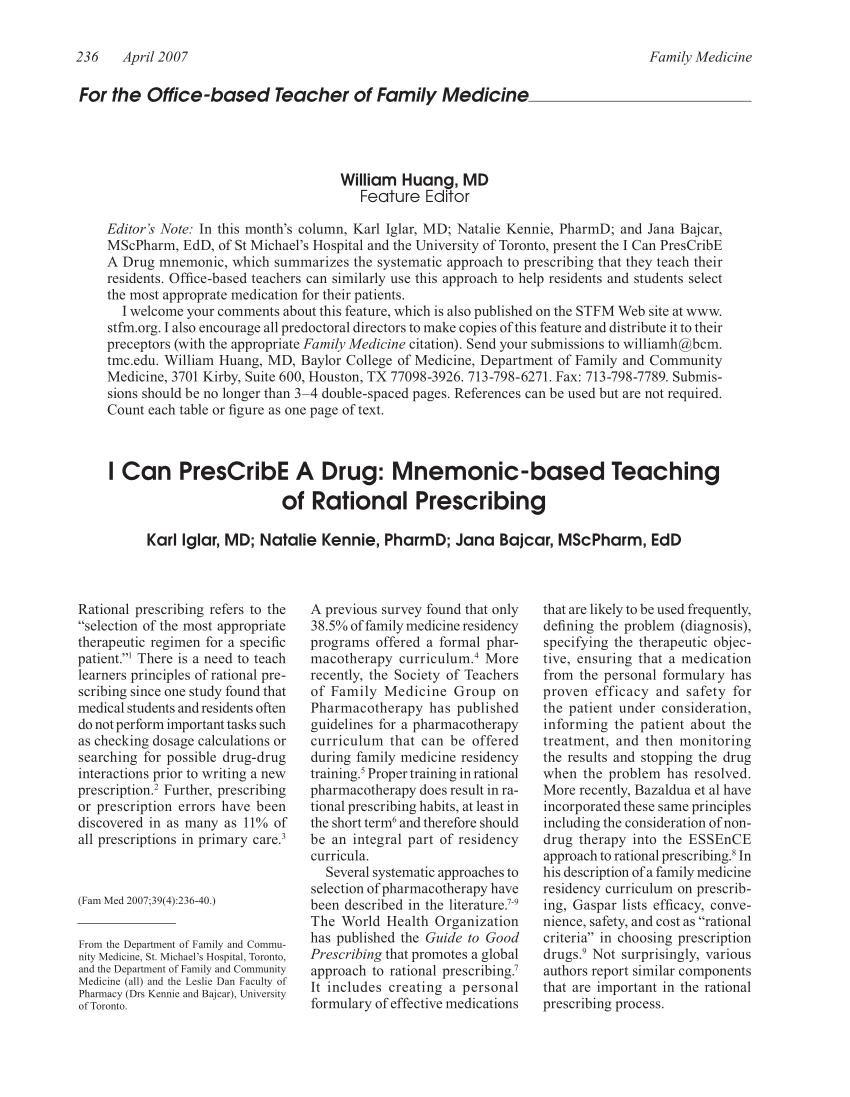 (pdf) I Can Prescribe A Drug: Mnemonic-based Teaching Of Rational Prescribing