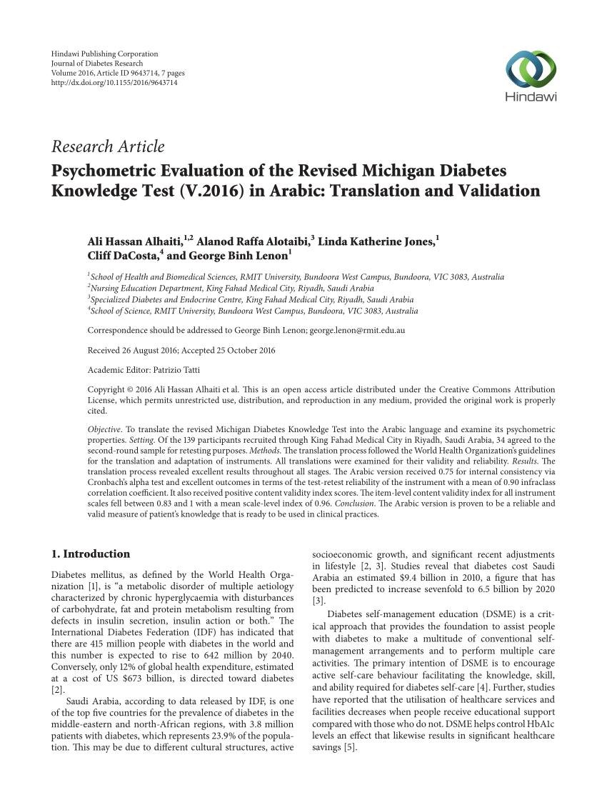 (pdf) Psychometric Evaluation Of The Revised Michigan Diabetes Knowledge Test (v.2016) In Arabic: Translation And Validation