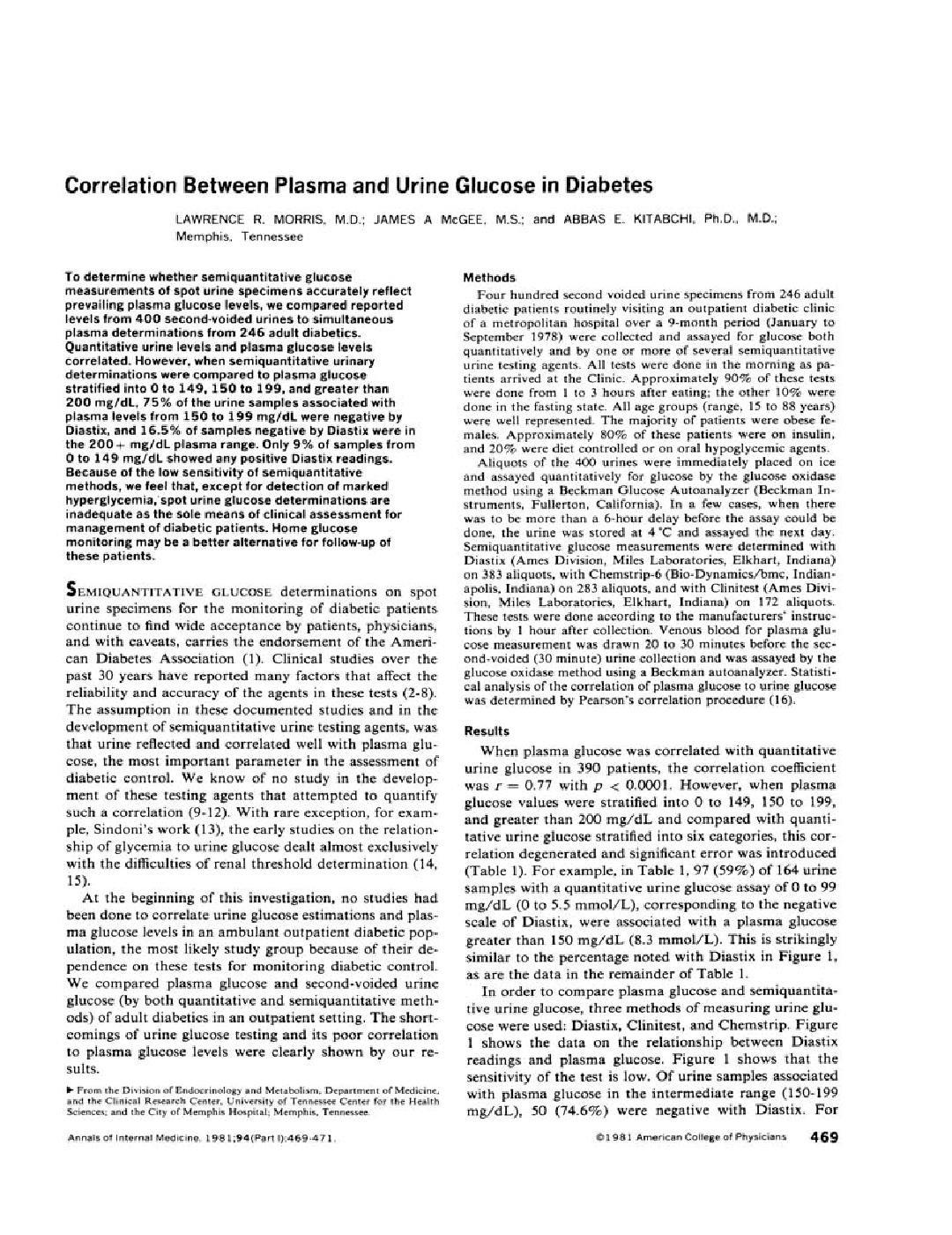 Correlation Between Plasma And Urine Glucose In Diabetes