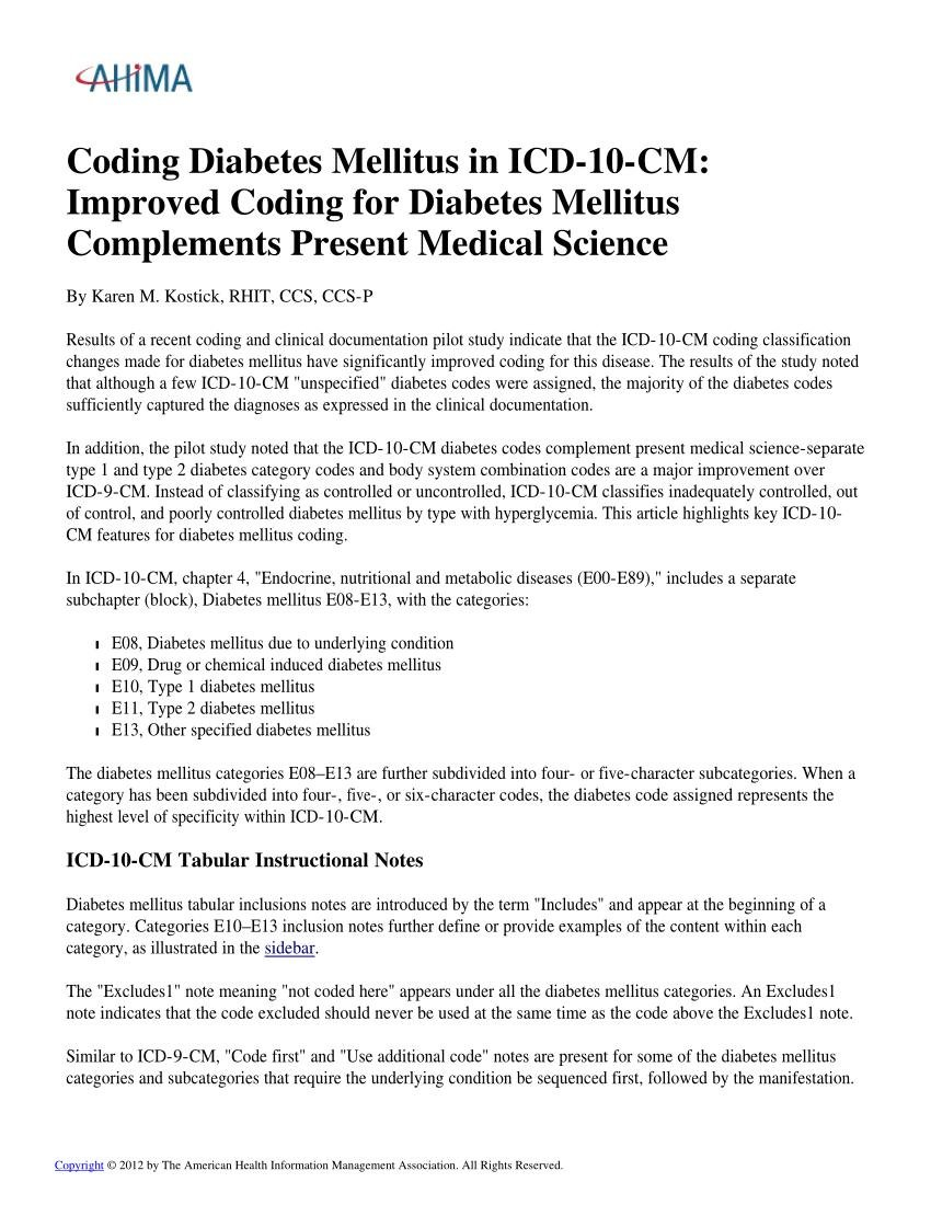 (pdf) Coding Diabetes Mellitus In Icd-10-cm: Improved Coding For Diabetes Mellitus Complements Present Medical Science