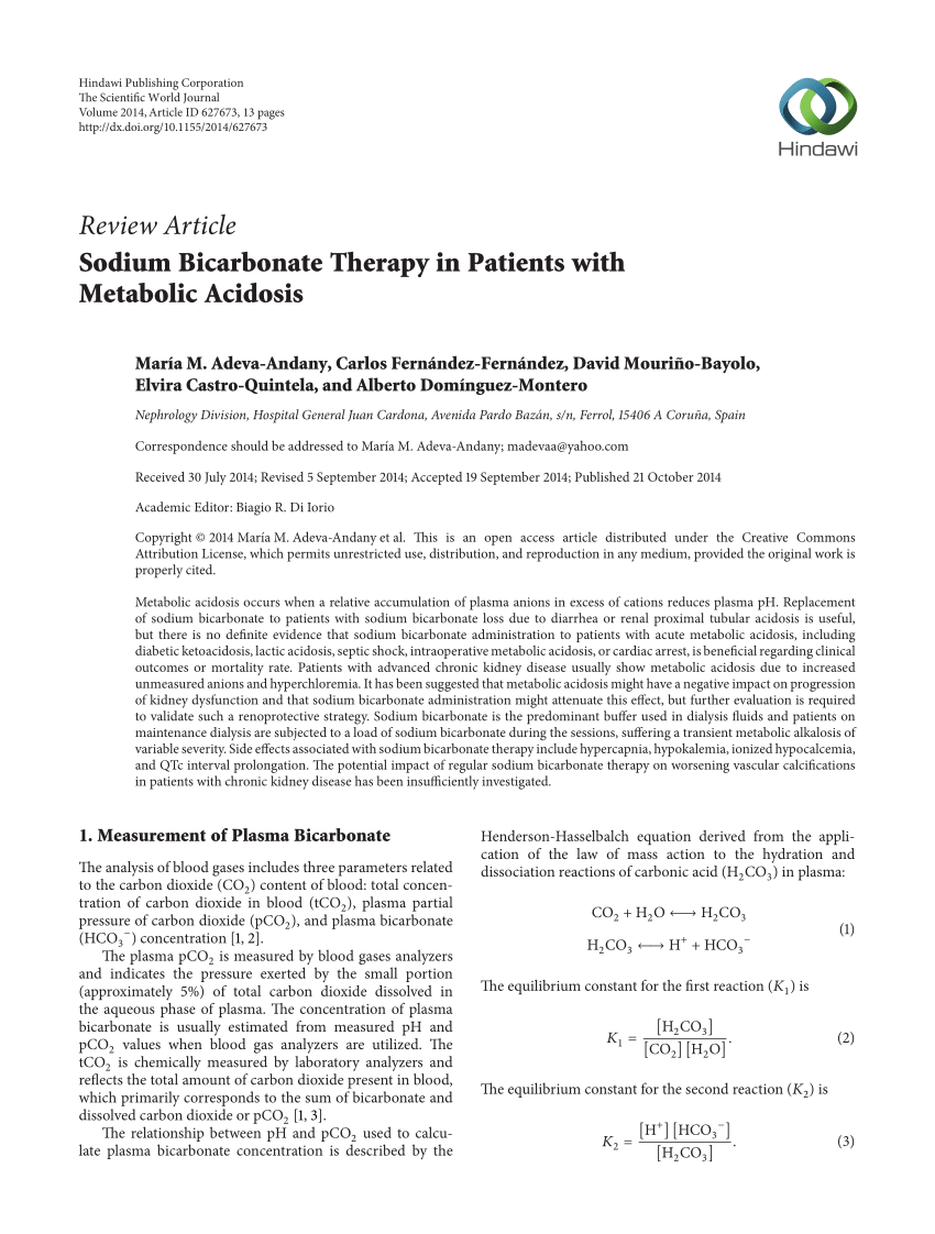Review Article Sodium Bicarbonate Therapy In Patients With Metabolic Acidosis