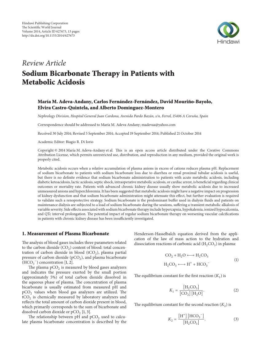 Sodium Bicarbonate Infusion In Metabolic Acidosis