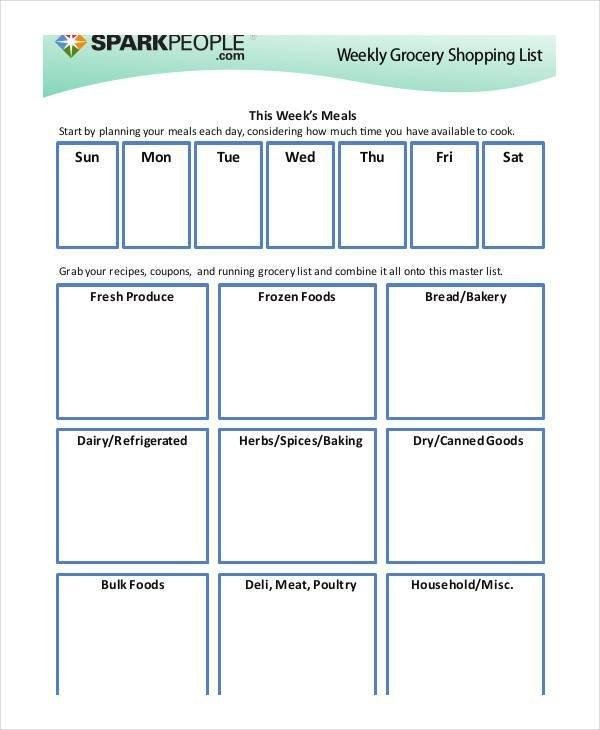 Printable Grocery List Templates - 9+ Free Pdf Documents Download | Free & Premium Templates