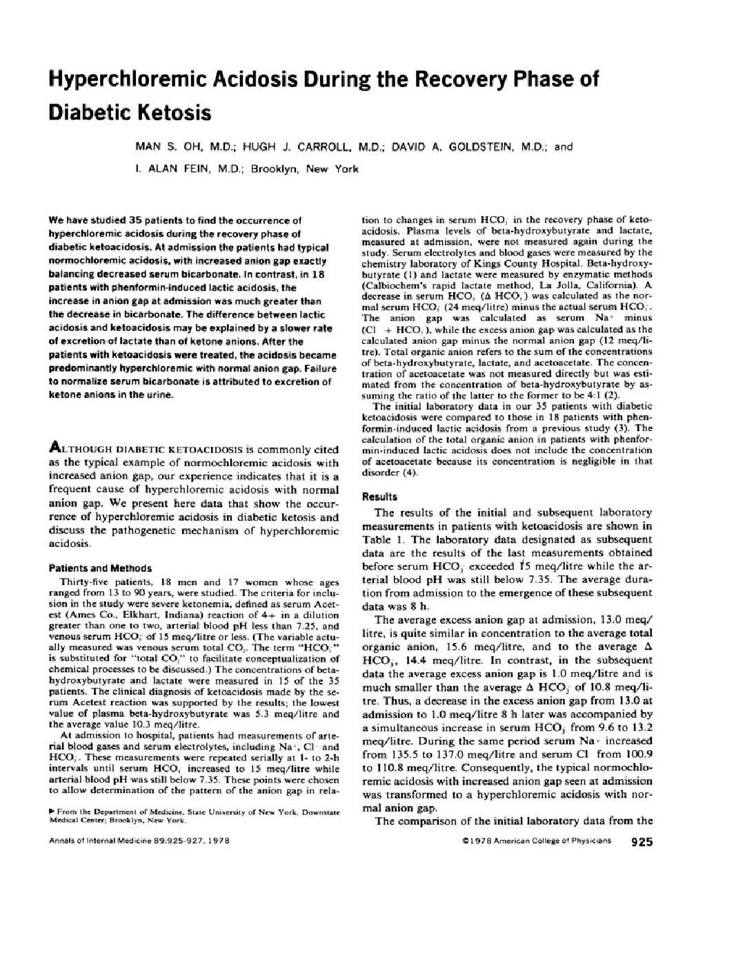 Hyperchloremic Acidosis During The Recovery Phase Of Diabetic Ketosis