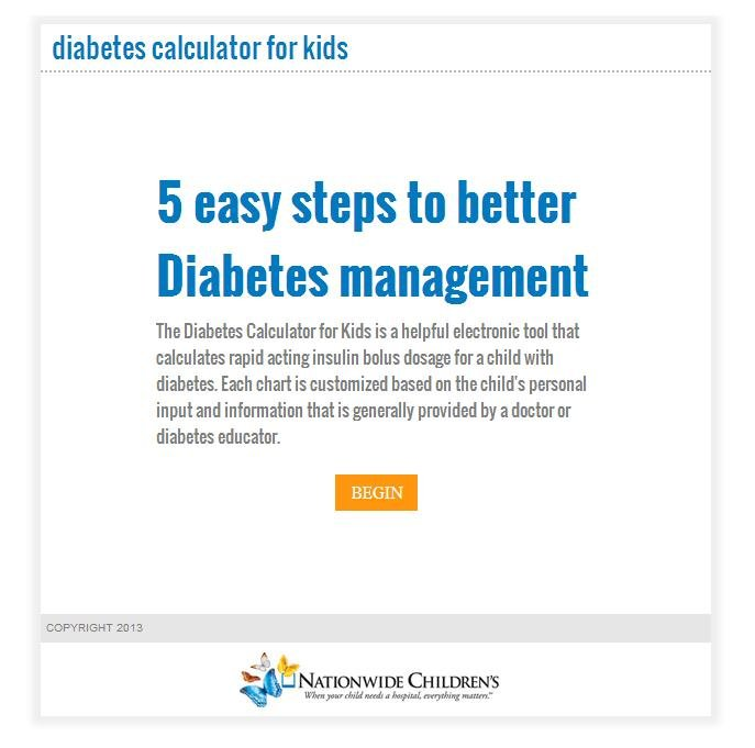 Diabetes Calculator for Kids