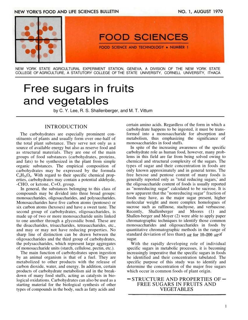 Free Sugars In Fruits And Vegetables