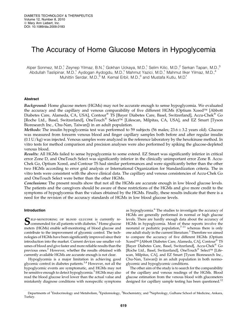 The Accuracy Of Home Glucose Meters In Hypoglycemia