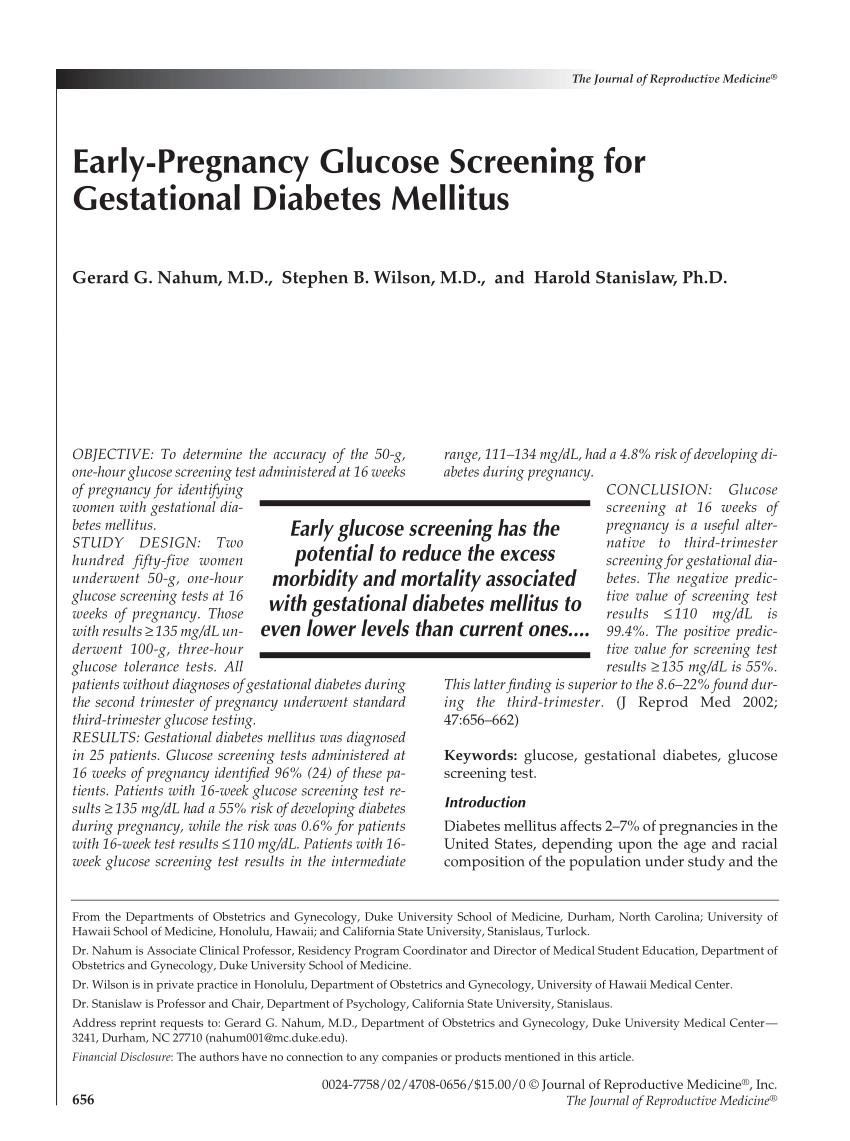 Early-pregnancy Glucose Screening For Gestational Diabetes Mellitus