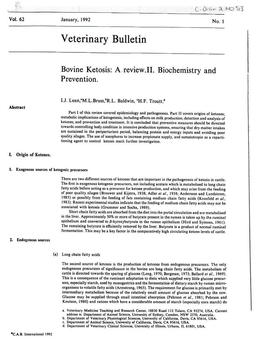 Bovine Ketosis: A Review. Ii. Biochemistry And Prevention